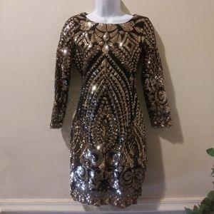 Gianni Binni Colette Baroque Sequin Sheath Dress